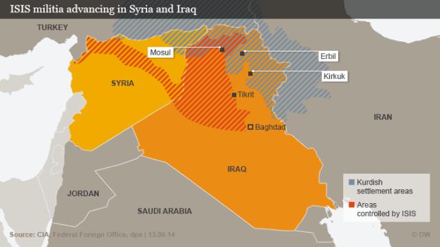 Wilayah yang dikuasai ISIS di Irak dan Syuriah
